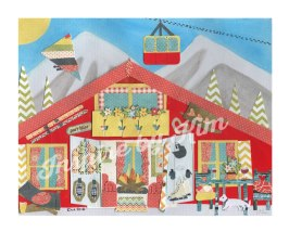 Ski Chalet - Paper Cut Collage