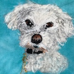 Embroidered Terrier Portrait