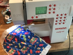 Bernina B215 Sewing Machine sewing an ice cream themed fabric that I designed