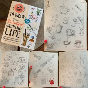 Collage of the cover and pages of my drawings in the book.